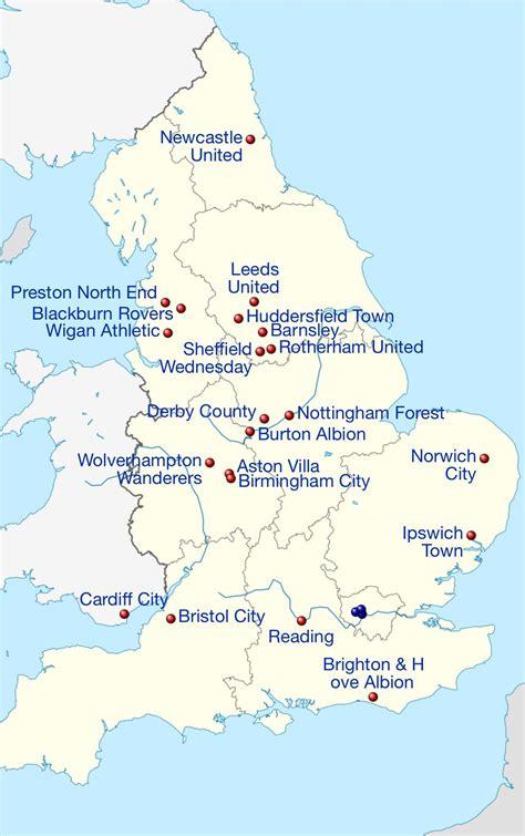 2016-17 English Championship Football league map | Ipswich ...