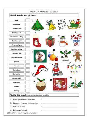 vocabulary worksheet  christmas vocabulary