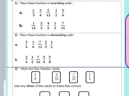 compare order fractions comparing and ordering fractions