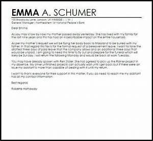 Sample Letter Sick Leave Official Bereavement Leave Letter Example1
