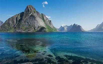 Island Norway Lofoten Mountains Landscape Sea Nature