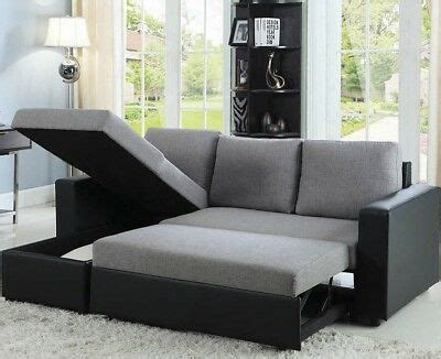 modern reversible sleeper sectional sofa storage chaise fabric faux leather gray ebay