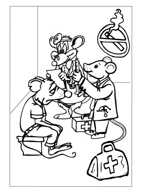 Dokter Kleurplaat by Kleurplaat Dokter Muis Met Patient Kleurplaten Nl