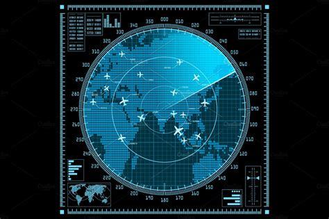 vector radar screen  planes custom designed