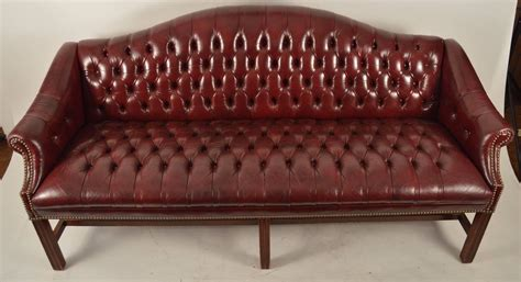 burgundy leather chippendale camelback sofa  sale
