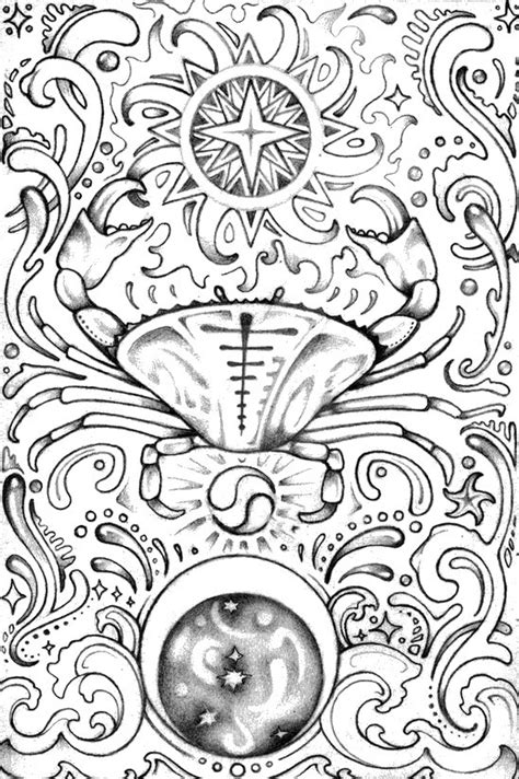 art therapy coloring page astrology cancer