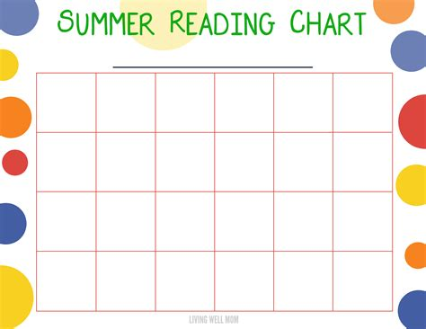 Summer Reading Program For Kids  Free Printable Chart
