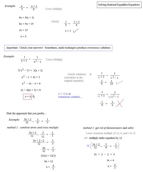 solving rational equations and inequalities worksheet