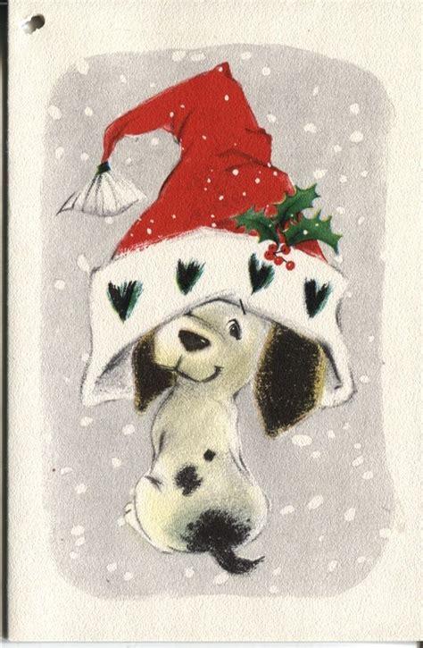 details  vintage hallmark christmas card dog