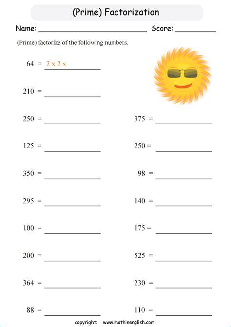 prime factorization worksheets wiildcreative