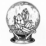 Tattoo Witch Crystal Ball Drawing Drawings Magic Tattoos Designs Mandala Instagram Believe Cute Coloring Arm Body sketch template