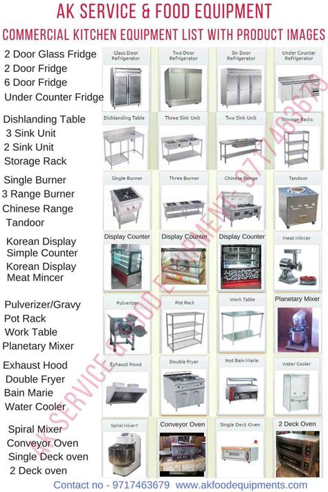commercial kitchen equipment list  hotel