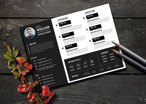 black landscape resume cv design template psd file