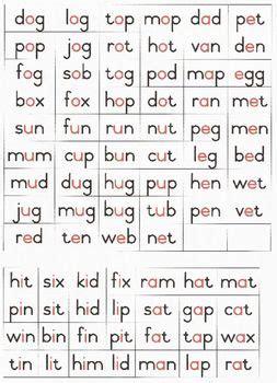 cvc word list  red vowel cvc words phonics