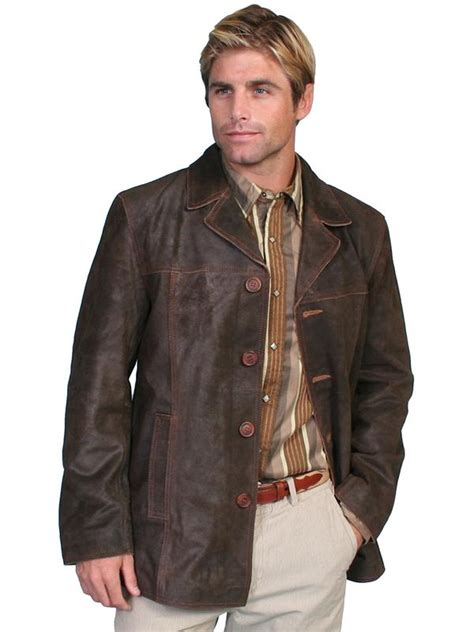 scully mens leather jacket car coat steampunk style