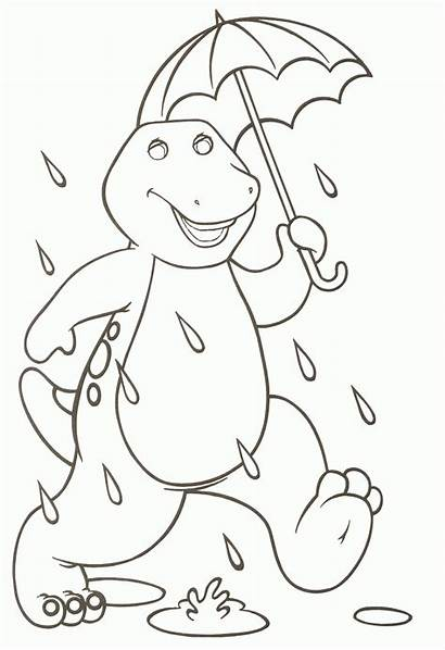 Coloring Barney Pages Printable Birthday Cartoon Colouring