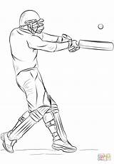 Cricket Coloring Drawing Sport Pages Player Bat Super Printable Sketch Outline Sports Playing Template Draw Game Sheet Realistic Drawings Templates sketch template