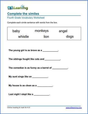 grade  vocabulary worksheets printable  organized