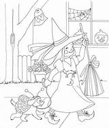 Coloring Halloween Printable Costume Witch Doghousemusic sketch template