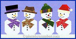 Snowman Paper Pieced Quilt Block by PieceByNumber - Craftsy