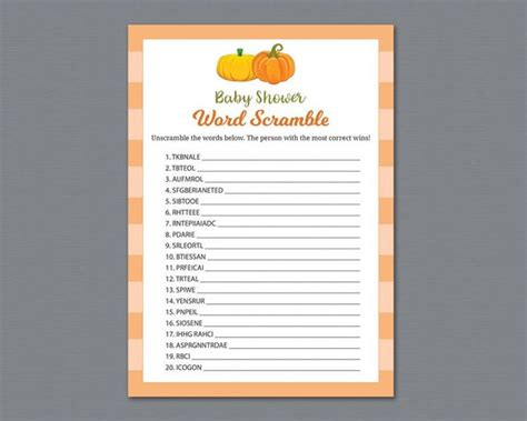 word scramble game printable autumn baby shower games fall