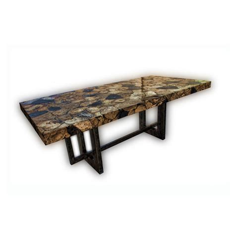 janice minor dining tables inlayed petrified wood rect
