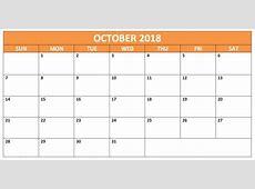 Printable October 2018 Calendar Australia Free Editable