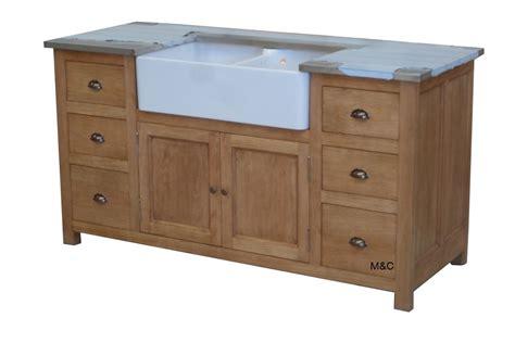 meuble cuisine evier meuble evier de cuisine 2 bacs en bois
