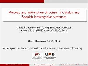 Pdf  Prosody And Information Structure In Catalan And Spanish Interrogative Sentences
