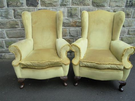 Pair Of Antique English Upholstered Wing Armchairs C.1910
