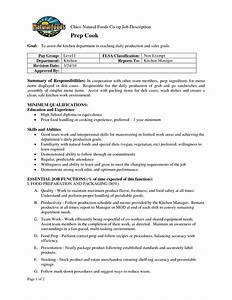 prep cook job description for resume sidemcicekcom With chef job description resume
