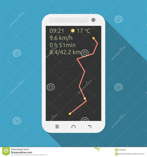 smartphone information smartphone showing marathon information stock vector
