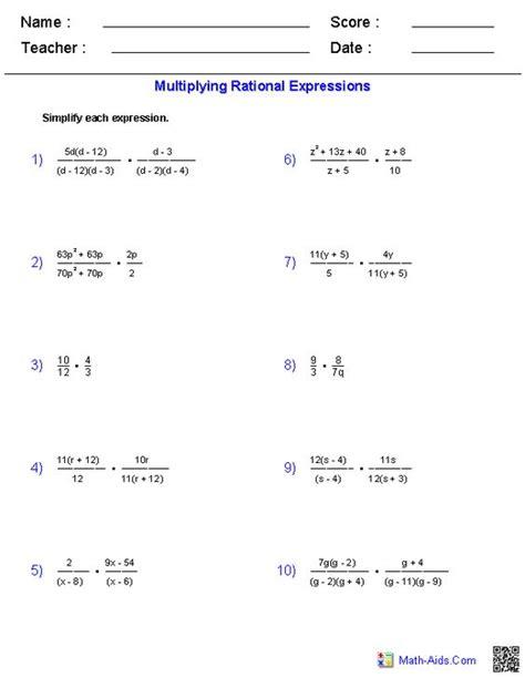 Multiplying And Dividing Rational Expressions Algebra 2 Worksheet  Multiplying Rational
