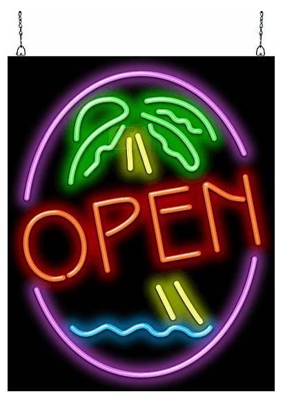 Taz Neon Palm Tree Sign Open Jantecneon