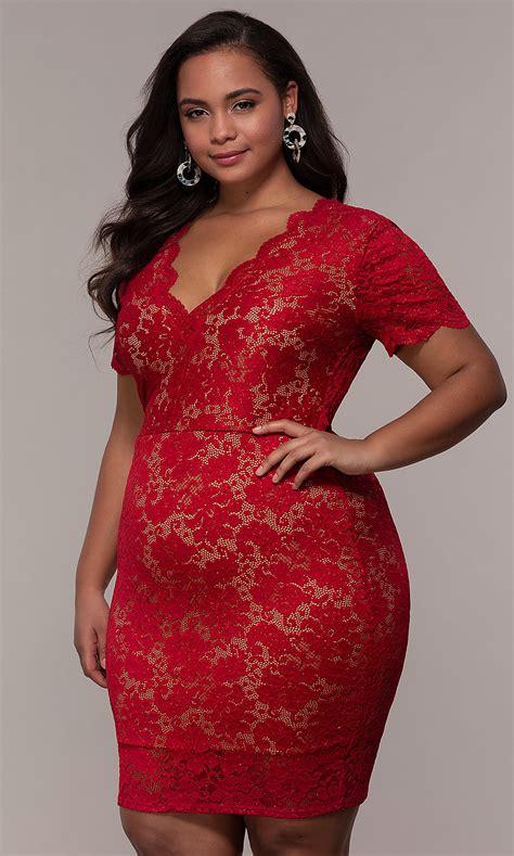 Short Lace V-Neck Plus-Size Party Dress - PromGirl