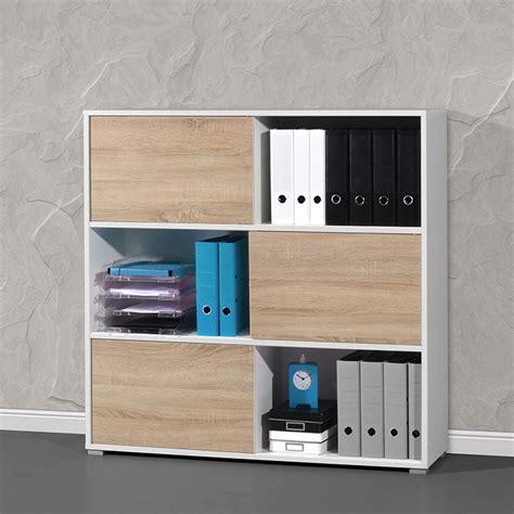armoire bureau bois armoire de bureau basse bois et blanc leader