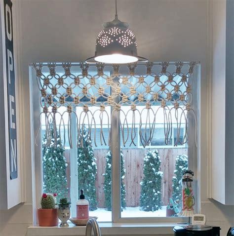 diy macrame kitchen curtain  vintage cottage