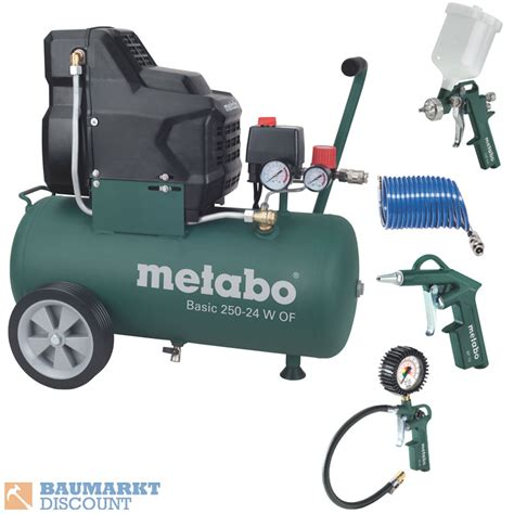 kompressor zubehör set metabo kompressor basic 250 24 w of inkl metabo zubeh 246 r set lpz 4 ebay