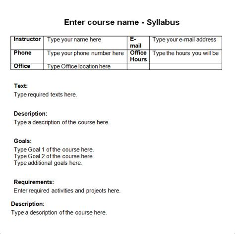 sample syllabus template   documents