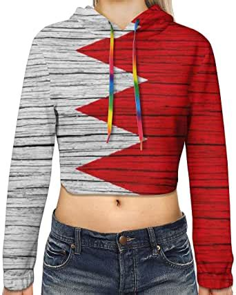 Wooden Texture Bahrain National Flag Women Sweatshirt ...