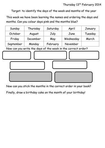 months of the year and days of the week worksheet by