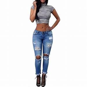 Jean Bleu Troué Femme : jean trou femme grande taille d chir genou pantalon denim asymetrique lastique cigarette ~ Melissatoandfro.com Idées de Décoration