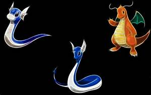 Pokemon Dragonair Dragonite black background Dratini ...