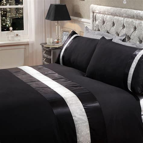 bettwäsche schwarz grau strass glitz bettbezug mit kissenbezug glanz