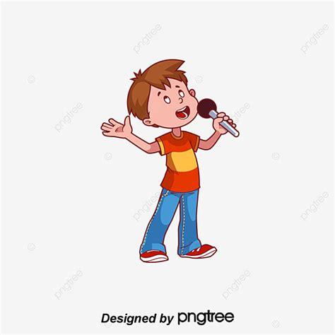 Niño Cantando Vector Cartoon Personajes De Dibujos