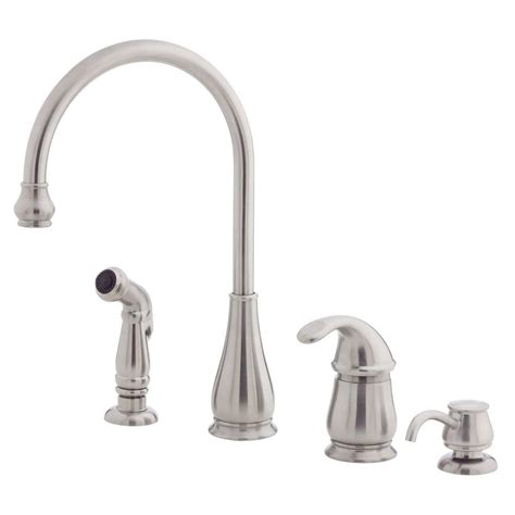 pfister treviso single handle side sprayer kitchen faucet  soap dispenser  stainless steel