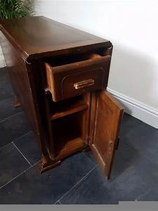 Antique, Drop, Leaf, Table, With, Storage