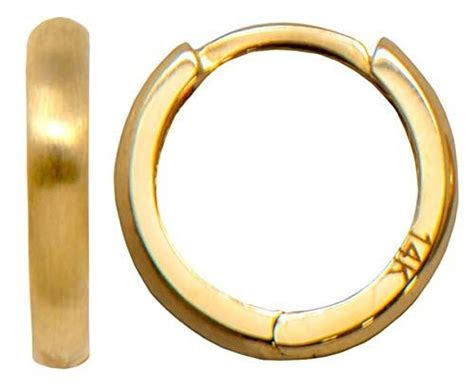 small  yellow gold brushed  polished reversible huggie hoop