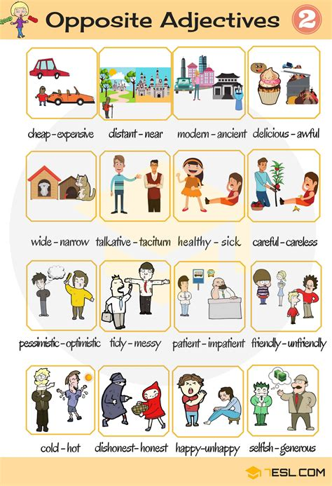 list   adjectives  english eslbuzz learning