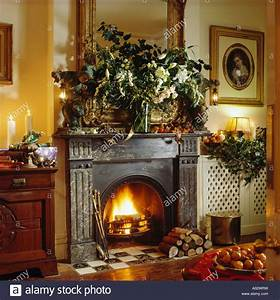 Cast Iron Traditional Fireplace In Christmas Livingroom